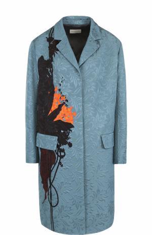 Пальто прямого кроя с фактурной отделкой и принтом Dries Van Noten. Цвет: голубой