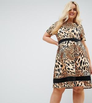 Praslin Короткое приталенное платье с леопардовым принтом и контрастной полосо. Цвет: коричневый