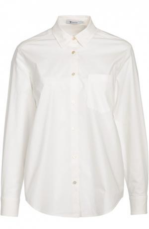 Хлопковая блуза прямого кроя с накладным карманом T by Alexander Wang. Цвет: белый