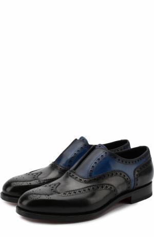 Кожаные оксфорды без шнуровки Santoni. Цвет: темно-синий