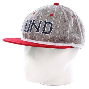 Бейсболка  Und Felt Ebbets Ballcap Grey Heather Undefeated. Цвет: серый,красный