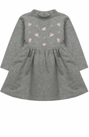 Хлопковое платье с вышивкой Aletta. Цвет: серый