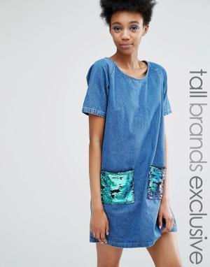 Liquor & Poker Tall Джинсовое цельнокройное платье с пайетками на карманах. Цвет: синий