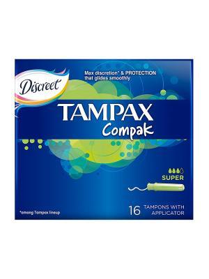 Гигиенические тампоны Discreet Compak super 16шт. TAMPAX. Цвет: темно-синий