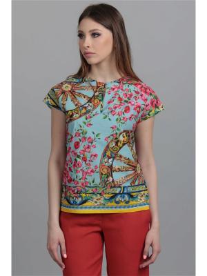 Блузка ЭНСО. Цвет: голубой, желтый, розовый