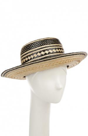 Соломенная шляпа с декоративными помпонами Yosuzi. Цвет: разноцветный