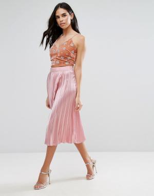 Liquorish Плиссированная юбка миди. Цвет: розовый