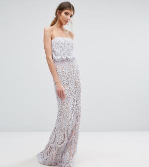 Jarlo Tall Кружевное платье-бандо макси. Цвет: фиолетовый