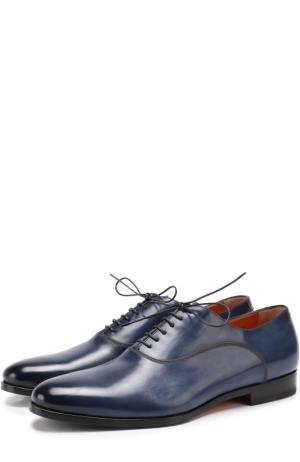 Классические кожаные оксфорды с острым мысом Santoni. Цвет: темно-синий