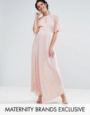 Queen Bee Кружевное платье макси. Цвет: розовый