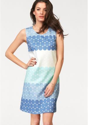 Платье VIVANCE. Цвет: голубой/бежевый