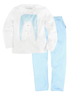 Пижама для мальчика \джемпер+брюки\Принт\ Bossa Nova. Цвет: голубой, белый