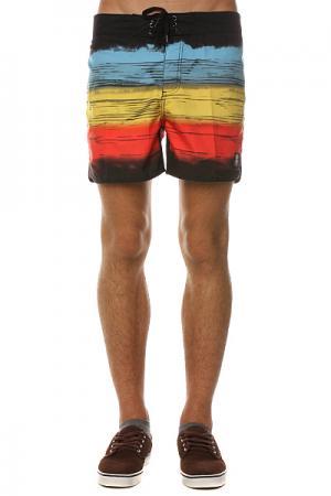 Пляжные мужские шорты  Retro Bro Bunker Black Insight. Цвет: черный,голубой,желтый