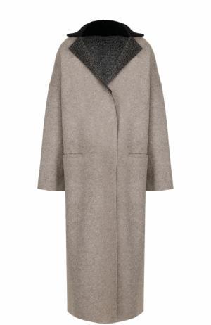 Шерстяное пальто свободного кроя Tegin. Цвет: бежевый