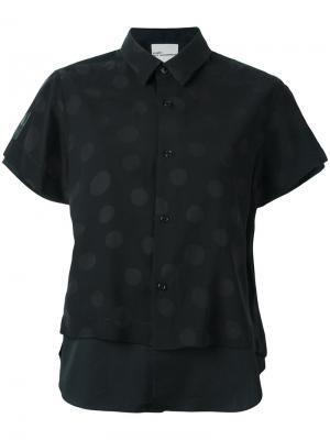 Двухслойная блузка с принтом в горох Comme Des Garçons Noir Kei Ninomiya. Цвет: чёрный