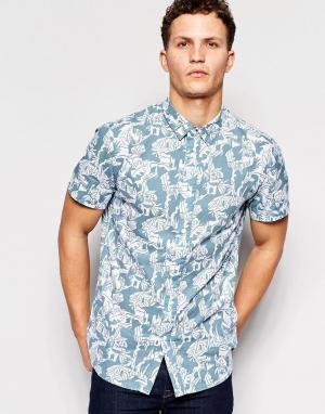 Afends Рубашка с короткими рукавами и принтом. Цвет: синий