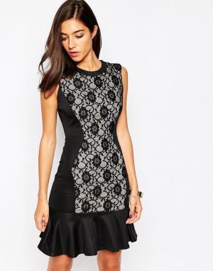 Little Black Dress Платье с кружевной вставкой и кромкой‑оборкой Dakot. Цвет: черный