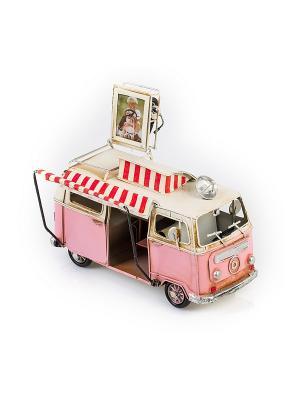 Модель Ретро Автобус белый с розовым, фоторамкой 4х5см PLATINUM quality. Цвет: белый, розовый
