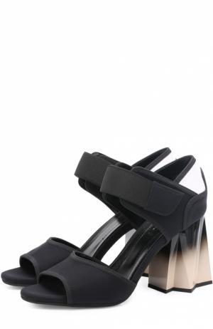 Текстильные босоножки на фигурном каблуке Marni. Цвет: черный