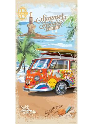 Полотенце пляжное MonaLiza&SergLook Bus Mona Liza. Цвет: бирюзовый, рыжий, светло-зеленый