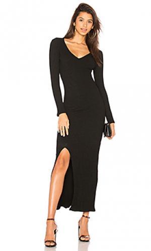 Макси платье с разрезом David Lerner. Цвет: черный