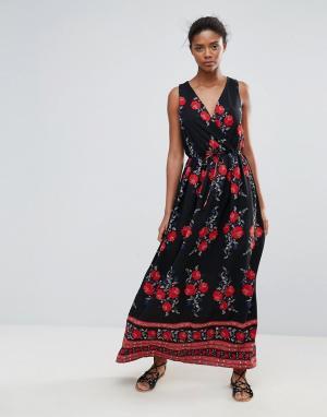 Parisian Платье макси с цветочным принтом. Цвет: черный
