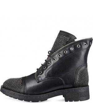 Кожаные ботинки с отделкой стразами Felmini. Цвет: черный