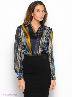 Блузка Natali Silhouette. Цвет: синий, горчичный, черный, темно-синий