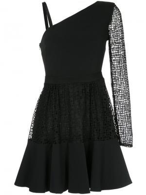 Асимметричное расклешенное платье David Koma. Цвет: чёрный