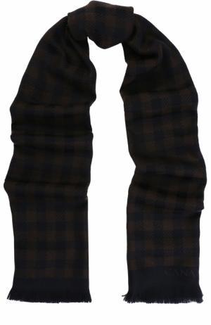 Шерстяной шарф в клетку с необработанным краем Canali. Цвет: коричневый