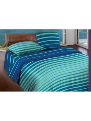 Комплект постельного белья евро  бязь Stripe Blue mint Wenge. Цвет: синий, бирюзовый