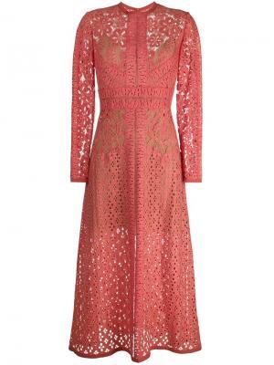 Кружевной платье с длинными рукавами Elie Saab. Цвет: розовый и фиолетовый
