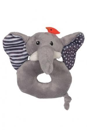Серая погремушка в виде слона Zoocchini. Цвет: multicolor