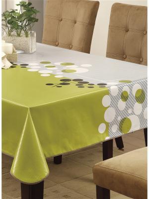 Скатерть Modern Comfort ПВХ с основой из флиса, 152*152 см WHITE FOX. Цвет: белый, зеленый