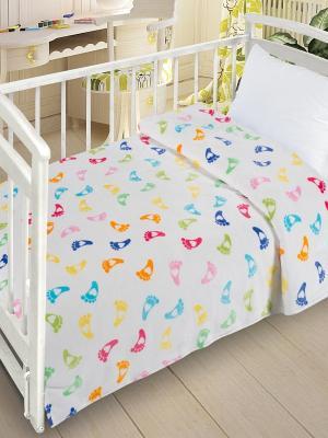 Плед  Велсофт-беби в кроватку VB06, 110х140 Letto. Цвет: белый