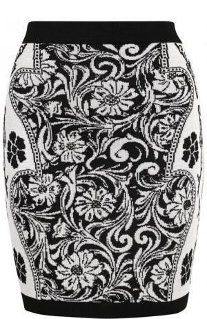 Вязаная мини-юбка с принтом Balmain. Цвет: черно-белый