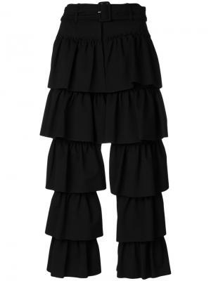 Укороченные многослойные брюки с оборками Simone Rocha. Цвет: чёрный