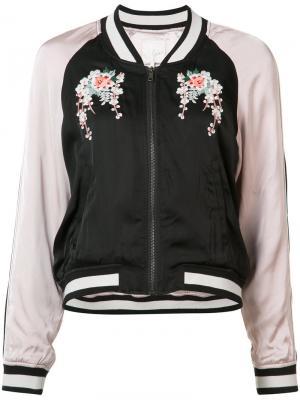 Embroidered flower bomber jacket Joie. Цвет: чёрный