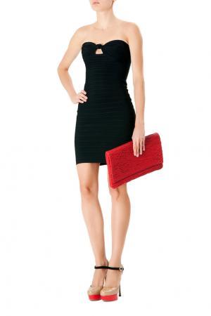 Черное бандажное платье-бюстье Hervé Léger. Цвет: черный