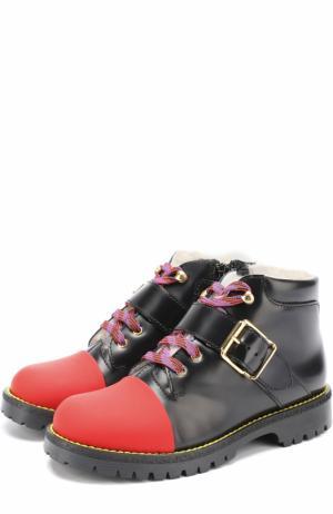 Кожаные ботинки с внутренней меховой отделкой Gallucci. Цвет: черный