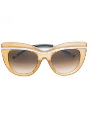 Солнцезащитные очки с оправой кошачий глаз Boucheron. Цвет: жёлтый и оранжевый