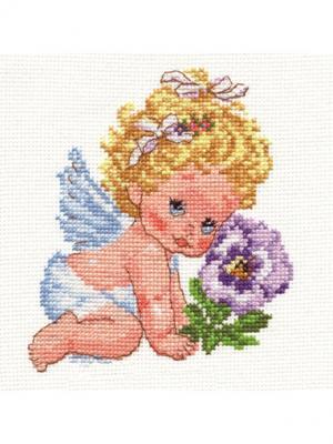 Ангелок счастья  12х14 см Алиса. Цвет: розовый, фиолетовый, светло-желтый