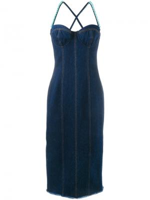 Платье с искусственными жемчужинами Natasha Zinko. Цвет: синий