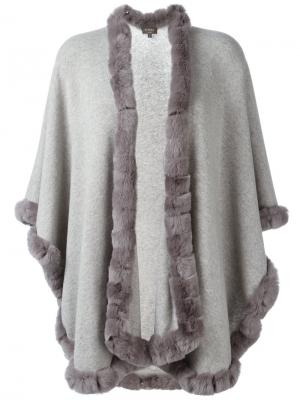 Кардиган-пальто с меховой отделкой N.Peal. Цвет: серый