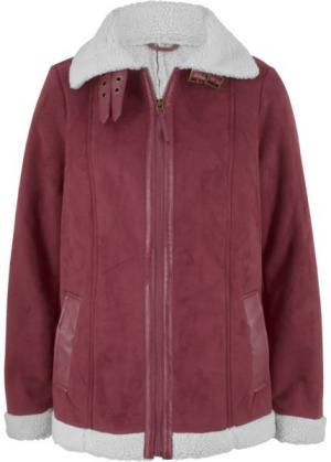 Куртка-дубленка из искусственной овчины (кленово-красный) bonprix. Цвет: кленово-красный