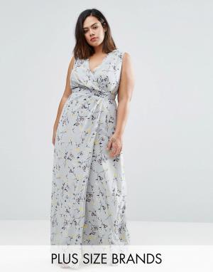 Koko Платье макси с запахом и цветочным принтом Plus. Цвет: серый