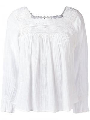 Блузка с ажурной вставкой Masscob. Цвет: телесный