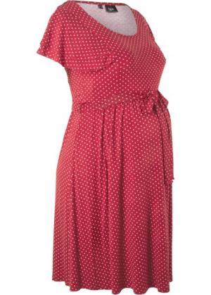 Праздничная мода для беременных: платье в горошек (темно-бордовый горошек) bonprix. Цвет: темно-бордовый в горошек