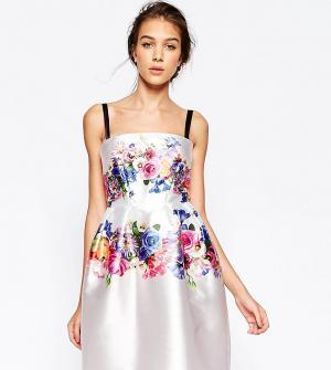 Hope and Ivy Структурированное платье с цветочным принтом. Цвет: мульти