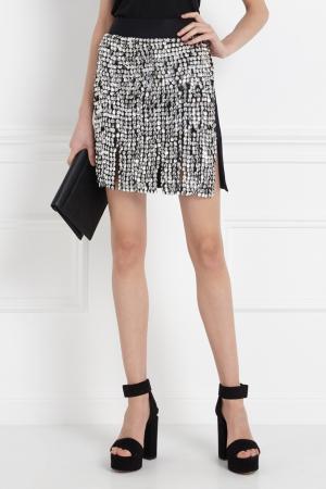 Шерстяная юбка-мини J. Mendel. Цвет: серебряный